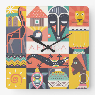 Horloge Carrée Collage symbolique africain d'art