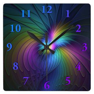 Horloge Carrée Coloré avec l'art abstrait moderne bleu de