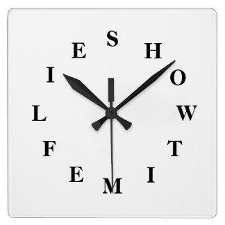 Horloge Carrée Comment le temps pilote blanc fumez l'horloge