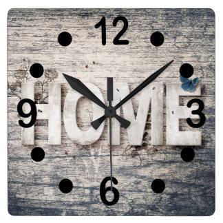 Horloge Carrée Conception à la maison en bois vintage