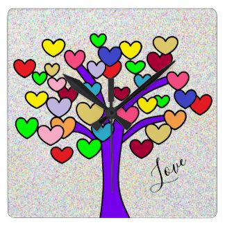 Horloge Carrée Conception pourpre d'arbre d'amour de coeurs