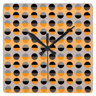Horloge Carrée Cool moderne à la mode de motif de pois rétro chic