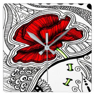 Horloge Carrée Copie abstraite de pavot de cru