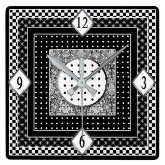 Horloge Carrée Copies noires/blanches synchronisent - unique et