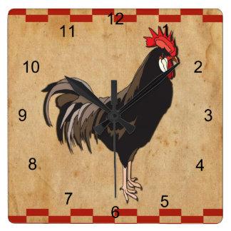 Horloge Carrée Coq