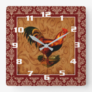 Horloge Carrée Coq vintage sur un motif rustique de damassé