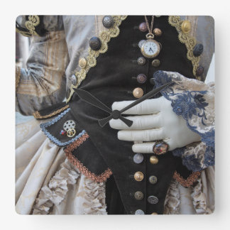 Horloge Carrée Corsage de Steampunk, carnaval, Venise
