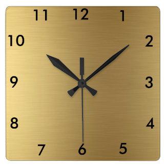 Horloge Carrée Couleur carrée d'or d'horloge murale