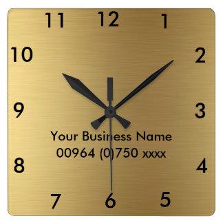Horloge Carrée Couleur carrée d'or d'horloge murale - pour le