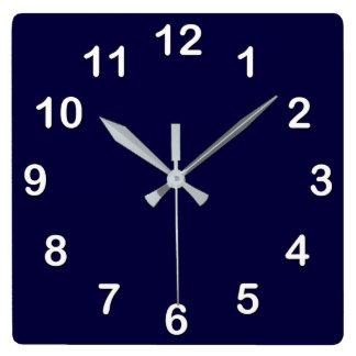 Horloge Carrée Couleur solide : Bleu marine