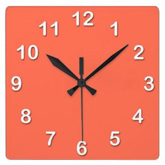 Horloge Carrée Couleur solide : Corail