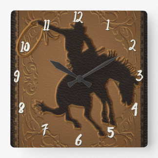 Horloge Carrée Cowboy rustique occidental sauvage occidental en