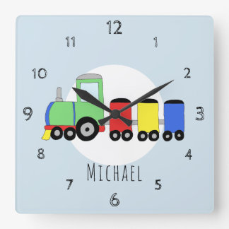 Horloge Carrée Crèche locomotive colorée de train de griffonnage
