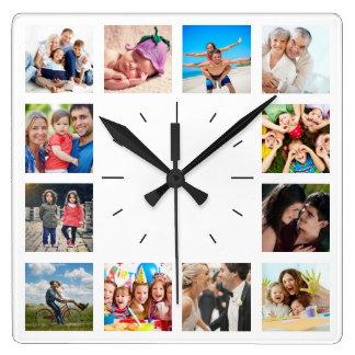 Horloge Carrée Créez votre propre collage Instagram de photo de