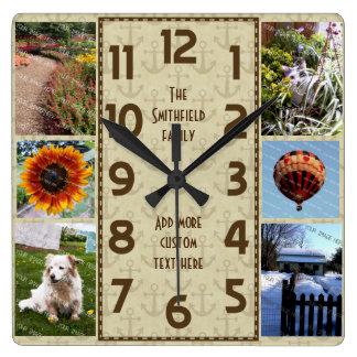 Horloge Carrée Créez votre propre Deco 6 ancres de Brown de