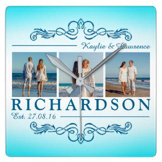 Horloge Carrée Créez votre propre monogramme de mariage de plage