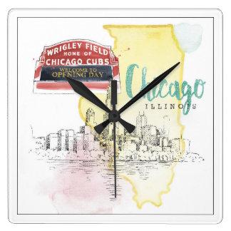 Horloge Carrée Croquis d'aquarelle de Chicago, l'Illinois  