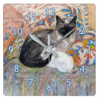 Horloge Carrée Croquis de chat et de chaton