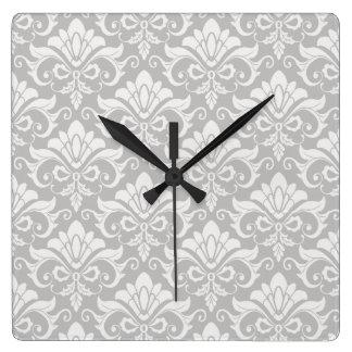 Horloge Carrée Damassé chic minable neutre de Taupe de Multi-Ton
