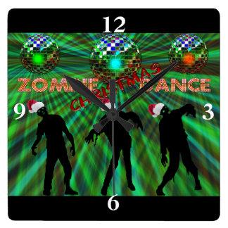 Horloge Carrée Danse de disco de Noël de zombi