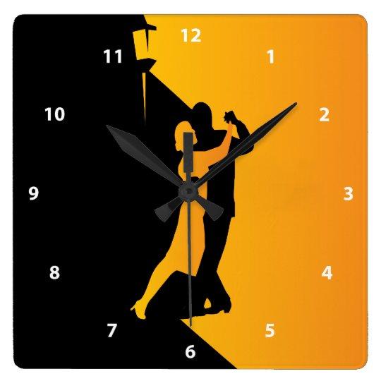 Horloge Carrée Danseurs de silhouette de tango