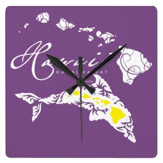 Horloge Carrée Dauphin d'Hawaï
