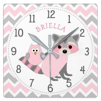 Horloge Carrée Décor animal de crèche de bébé de fille de thème