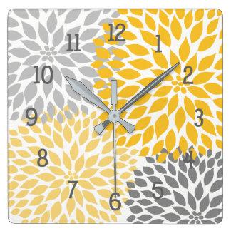 Horloge Carrée Décor floral de mamans grises oranges de dahlia