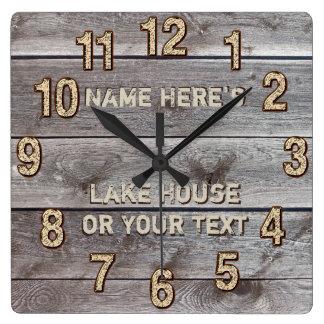 Horloge Carrée Décor rustique personnalisé de mur de Chambre de