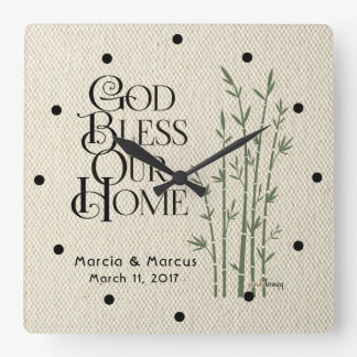 Horloge Carrée Dieu bénissent notre maison : Personnalisé