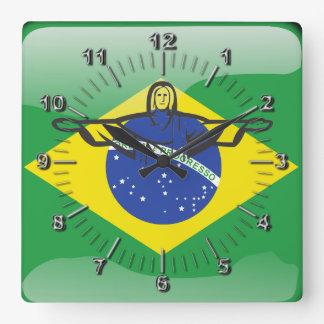 Horloge Carrée Drapeau brillant brésilien