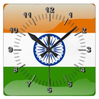 Horloge Carrée Drapeau brillant indien