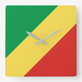 Horloge Carrée Drapeau de Congo-Brazzaville