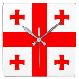 Horloge Carrée Drapeau de la Géorgie