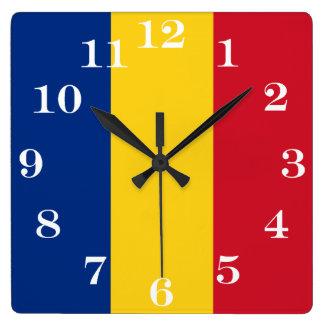 Horloge Carrée Drapeau de la Roumanie