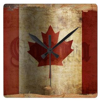 Horloge Carrée Drapeau du Canada/de grunge…