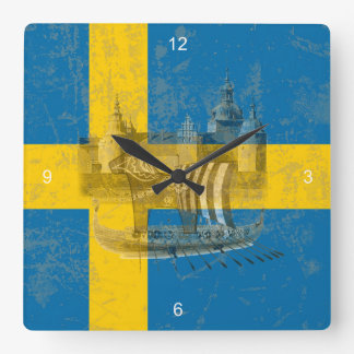Horloge Carrée Drapeau et symboles de la Suède ID159
