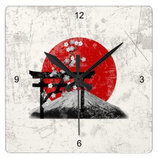 Horloge Carrée Drapeau et symboles du Japon ID153
