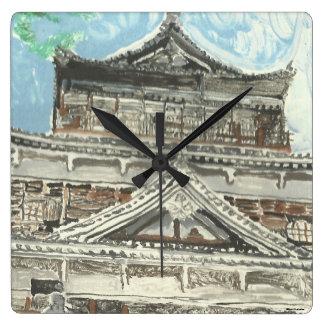Horloge carrée du Japon de château peint à la main