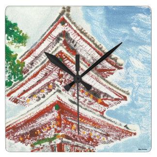 Horloge carrée du Japon de temple peint à la main