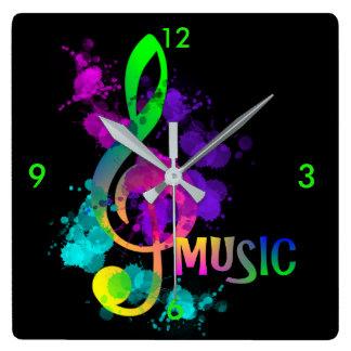 Horloge Carrée Éclaboussure lumineuse de peinture de musique de