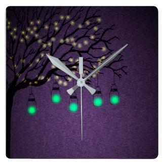 Horloge Carrée Éclairage de soirée dans le jardin