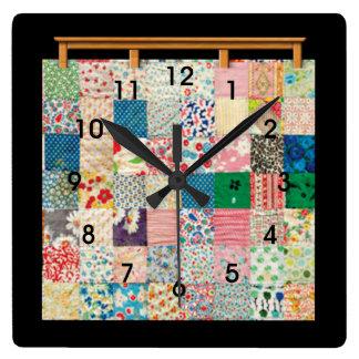 Horloge Carrée Édredon de patchwork vintage