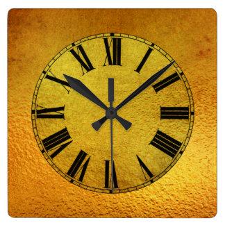 Horloge Carrée Effet d'or et de feuille d'or