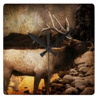 Horloge Carrée Élans rustiques de montagne de forêt de cottage de