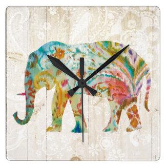 Horloge Carrée Éléphant de Boho Paisley II