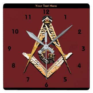 Horloge Carrée Esprits maçonniques (jaunâtres)