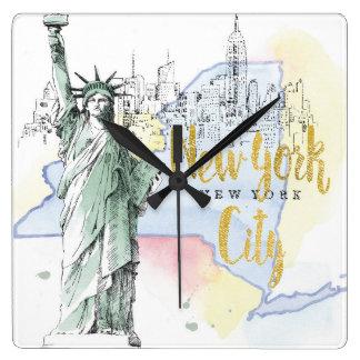 Horloge Carrée État de statue de New York   de la liberté