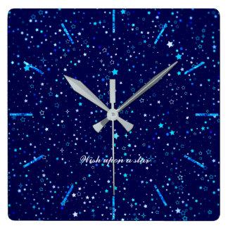 Horloge Carrée Étoiles bleues 2