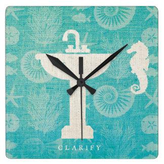 Horloge Carrée Évier côtier de salle de bains de l'art |